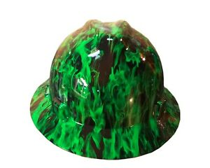 Hydrographic Green Fire Msa V guard Full Brim Hard Hat