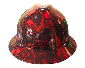 Hydrographic Warrior Red Msa V guard Full Brim Hard Hat