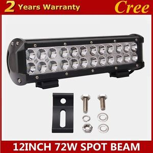2x12inch 72w Cree Led Work Light Bar Spot Beam Suv Boat Driving Lamp Offroad 4wd