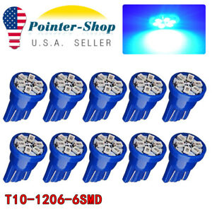 10x Pure Blue T10 Wedge 6 smd Led Interior Dome Map Light Bulb W5w 192 194 2825