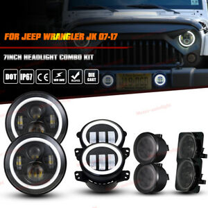 7 Led Headlight Fog Lights Turn Signal Fender Lamp Kit 07 17 Jeep Wrangler Jk