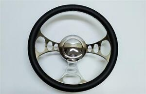 1967 1994 Gm Chevy 14 Chromed Billet Aluminum Steering Wheel Kit Leather Wrap