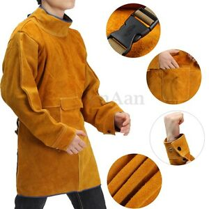 Cow Leather Welding Long Coat Apron Protective Clothing Apparel Suit Welder Bib