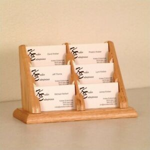 Wooden Mallet 6 Pocket Business Card Holder In Light Oak Holders