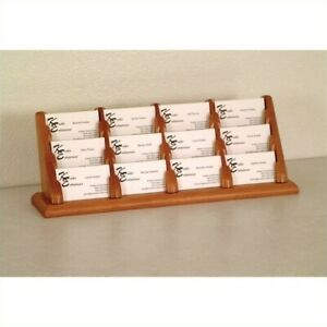 Wooden Mallet 12 Pocket Business Card Holder In Medium Oak Holders