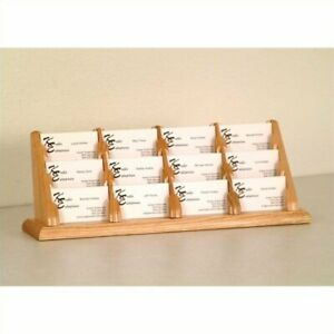 Wooden Mallet 12 Pocket Business Card Holder In Light Oak Holders