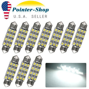 10x 42mm Festoon Led 12smd White Car Trunk License Plate Interior Light Bulbs