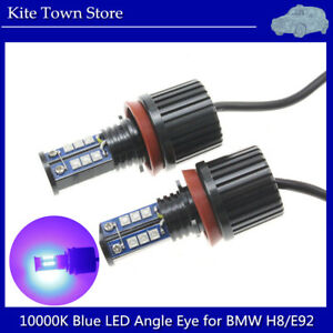 2pcs 120w Cree H8 Led Angel Eyes Halo Ring Light Bulbs 10000k Dark Blue For Bmw