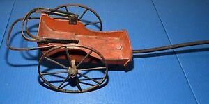 Antique Primitive Wheel Hand Painted Stencil Childs Wood Wagon