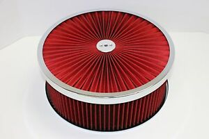 14 X 5 Chrome Round Red High Flow Thru Washable Air Cleaner Drop Base Sbc 350