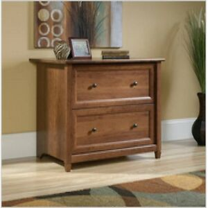 Lateral File Cabinet Office 2 Drawer Horizontal Wood Cherry Locking Furniture