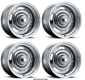 Vision Wheel 57 5883 Set Of 4 Chrome 57 Rally 15x8 12 Offset 6x5 5 Rims