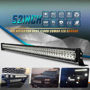 50 Inch 672w Led Light Bar Spot Flood Curved Work Driving Suv Jeep Off Road Lamp