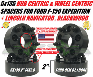 5x135 Wheel Spacers Ford F 150 Expedition Navigator 2 Inch Thick Hub Centric