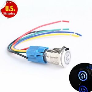 19mm 12v Car Blue Led Light Metal Push Button Switch Socket Us Seller