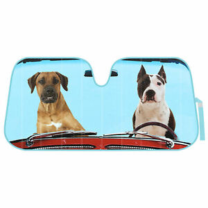2 Dogs Auto Sun Shade For Car Suv Truck Foil Jumbo Folding Accordion Windshield