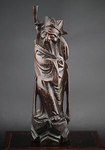 A Large Chinese Wood Sculpture Of Shoulao Taoist Daoist Immortal