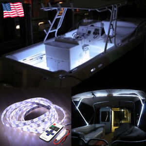 Wireless Waterproof Led Strip Light 16ft For Boat Truck Car Suv Rv White