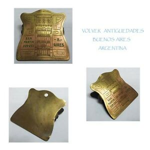 Interesting Old Brass Banco Del Comercio Argentina Paper Clip 6 X 6 Cm Art Deco