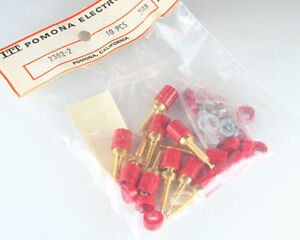 Lot Of 3 Pomona 2382 2 Red Miniature Binding Post Gold Plating