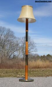 Vintage Mid Century Modern Wood Brass Banded Floor Lamp Hollywood Regency Mcm