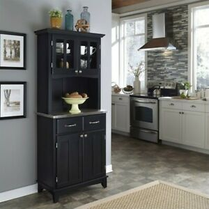 Home Styles Wood Buffet With Stainless Steel Top And 2 door Hutch In Black
