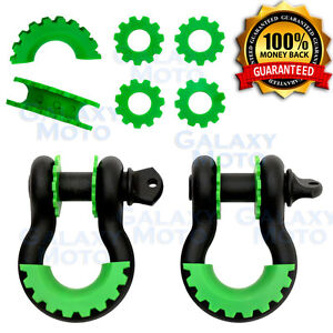 1 Pair 3 4 Black 4 75 Ton D ring Shackle green Isolator Washers Silencer Clevis