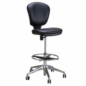Safco Metro Faux Leather Adjustable Drafting Chair In Black