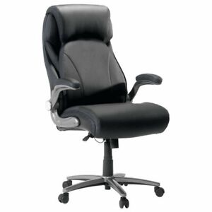 Sauder Gruga Big And Tall Office Leather Office Chair In Black