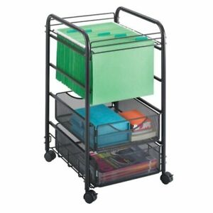 Safco Onyx 2 Drawer Mesh File Cart In Black