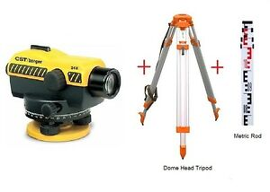 Cst berger Sal24nd 24x Auto Level W Dome Head Tripod Metric Rod Package
