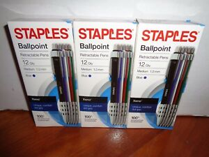 Lot Of 3 12 Packs Staples Xeno Retractable Ballpoint Pens Med Blue Ink 36 Total