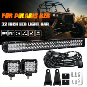 30inch 32 Led Light Bar 2x Pods Polaris Rzr Xp 1000 900 Ranger 800 Turbo Utv