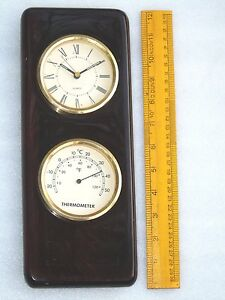 Vintage Brass Weather Station Quartz Ships Clock Thermometer Nautical Boat Set