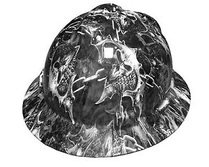 Hydrographic Warrior Skull Msa V guard Full Brim Hard Hat