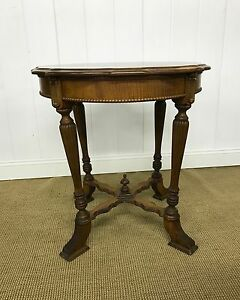 Victorian Carved Walnut Tiger Maple And Walnut Parlor Table 1800 S