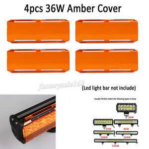 4x Snap On Amber Lens 36w Covers For 22 Inch Cree 144w Led Work Light Bar 6 12