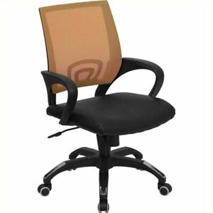 Scranton Co Leather Mid back Mesh Office Chair In Orange
