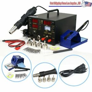 New 853d Smd Hot Air Iron Gun Rework Soldering Station Welder 6 Gift Dc Sw