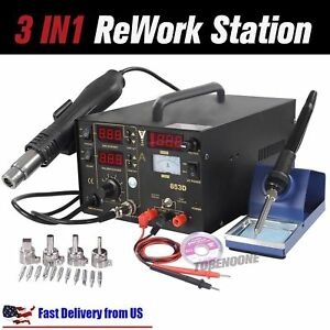 853d 3in1 Dc Power Supply Smd Soldering Rework Station Hot Air Gun 110v Us Sw