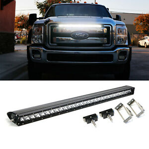 150w 30 Led Light Bar W Behind Grille Mount Bracket Wiring For 11 16 F250 F350