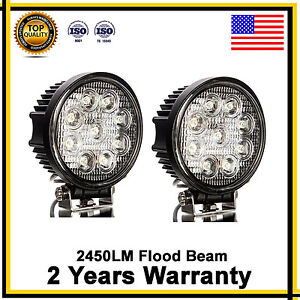 2x 4inch 27w Round Led Work Light Bar Spot Flood Offroad Driving Fog Lamp 12v B