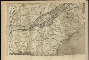 United States Insurrectionary Control Confederacy 1862 Antique Engraved Map