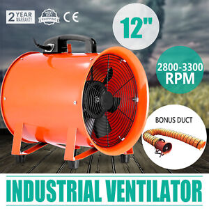 12 Extractor Fan Blower Portable 5m Duct Hose Utility Workshop Axial Motor