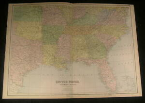 Southern Region United States W Most Of Texas 1879 Old Vintage Nice Color Map