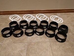 6 Inch Recessed Can Light White Trim Ring Black Stepped Baffle Set Lot Of 12