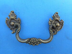 Antique Ornate Solid Brass Furniture Drawer Pull Vintage French Style