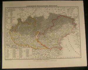 Lombardy Venice Kingdom Italy 1854 Antique Lithograph Detailed Color Map