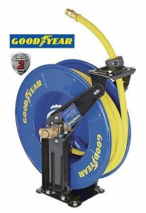 Goodyear Steel Retractable Air Compressor water Hose Reel W 1 2 In X 50 Ft