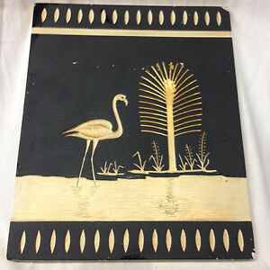 Coventry Ware Chalkware Art Deco Wall Hanging Panel Black White Flamingo Tree